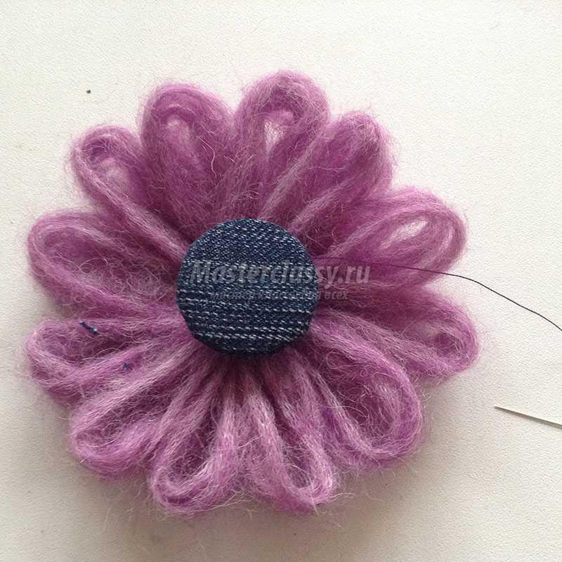 как сделать цветок из пряжи
