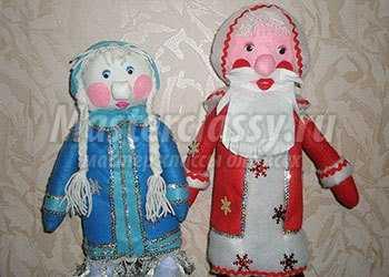 Игрушки из фетра. Снегурочка и Дед Мороз. Мастер-класс с фото