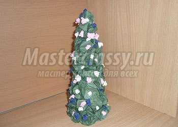 Новогодняя елочка из салфеток. Мастер-класс с фото