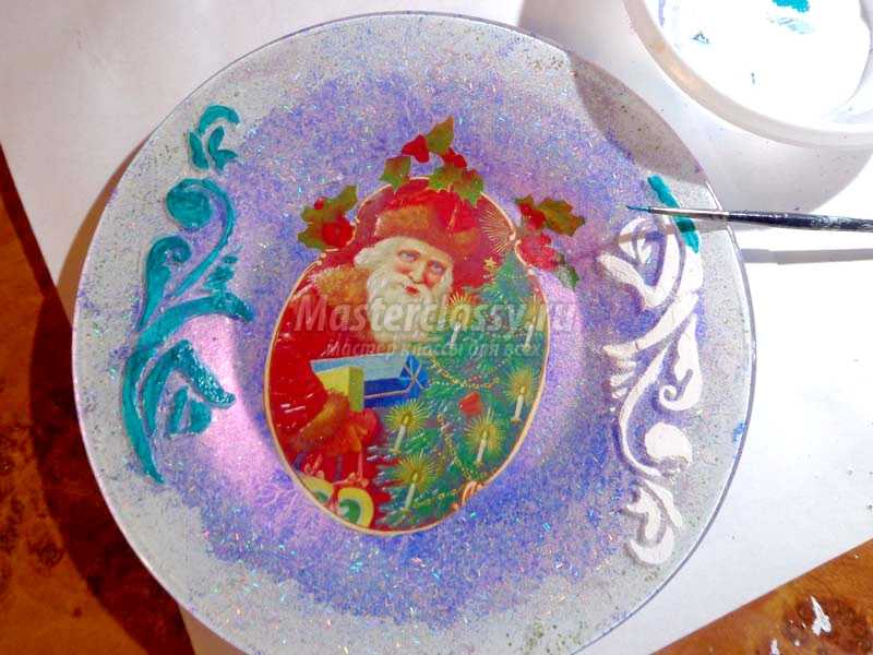 обратный декупаж тарелки с фотографией