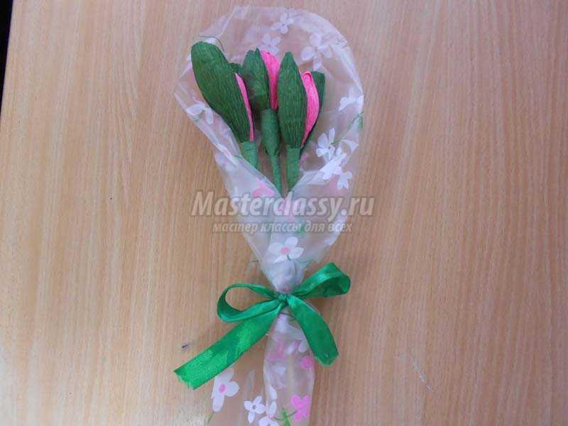 цветы конфеты из гофрированной бумаги своими руками