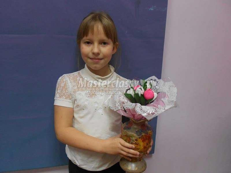 цветы конфеты из гофрированной бумаги мастер класс