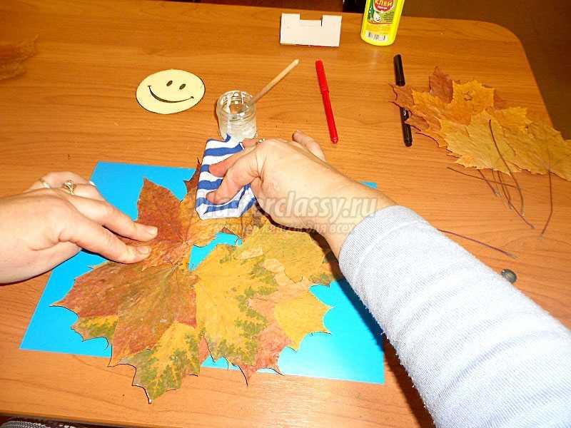 аппликация из осенних листьев для детей