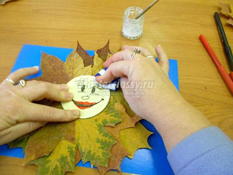 аппликация из осенних листьев своими руками