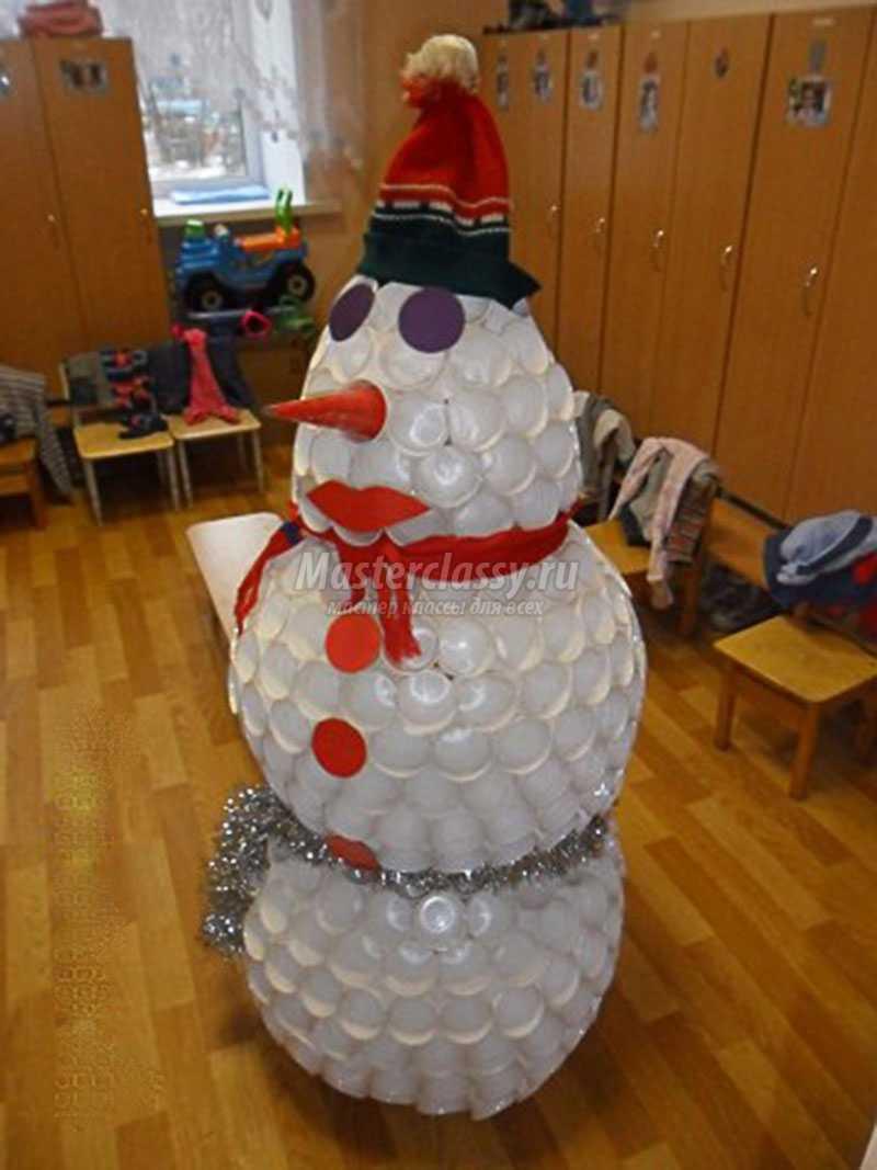 Снеговик из стаканчиков своими руками видео фото 251