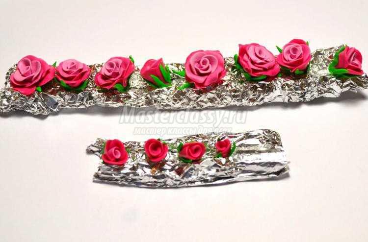 браслет из полимерной глины. Розовые розы