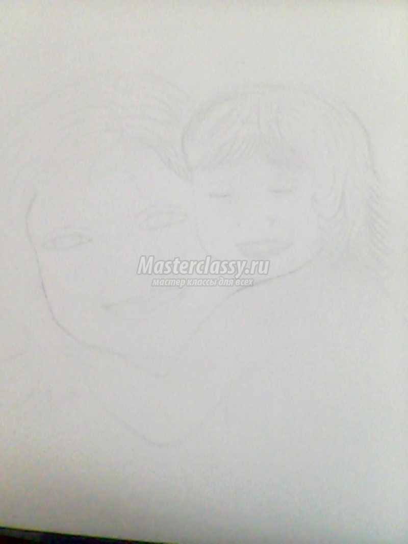 нарисовать портрет мамы карандашом