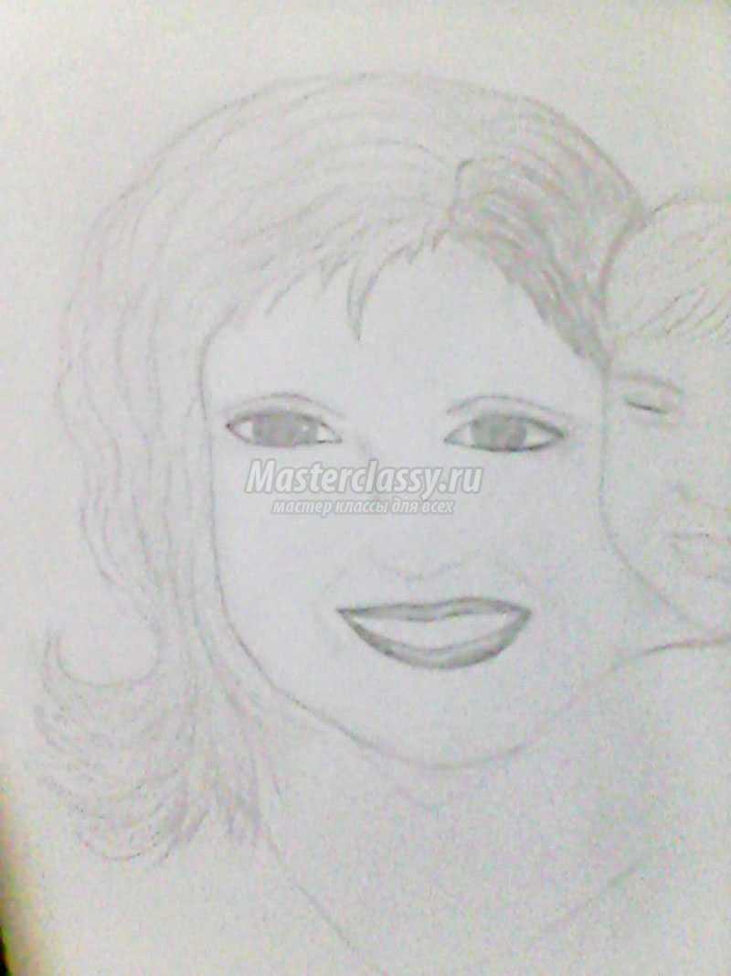 портрет мамы поэтапно карандашом