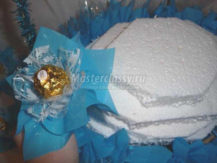 корзинка из конфет с мишкой к Новому году