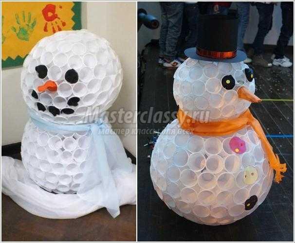 Снеговик из одноразовых стаканчиках