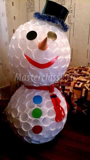 Снеговик из прозрачных пластиковых стаканчиков своими руками фото 564