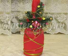 Декор бутылки шампанского на Новый год. Мастер-класс с фото