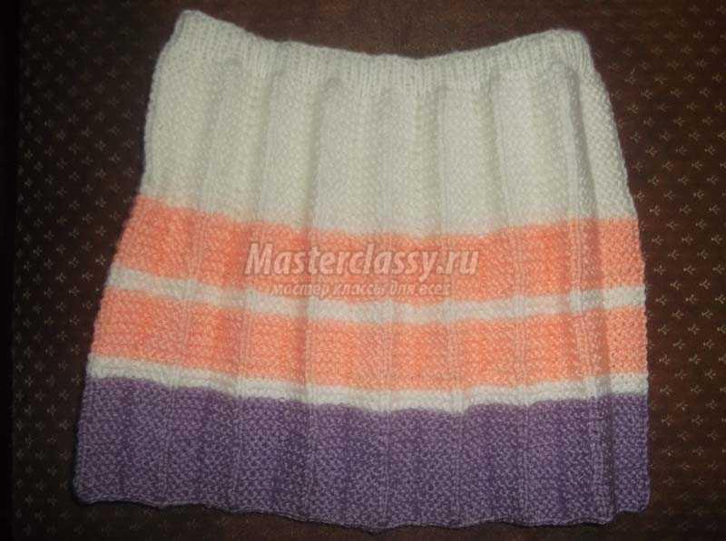 Детская вязаная юбка спицами