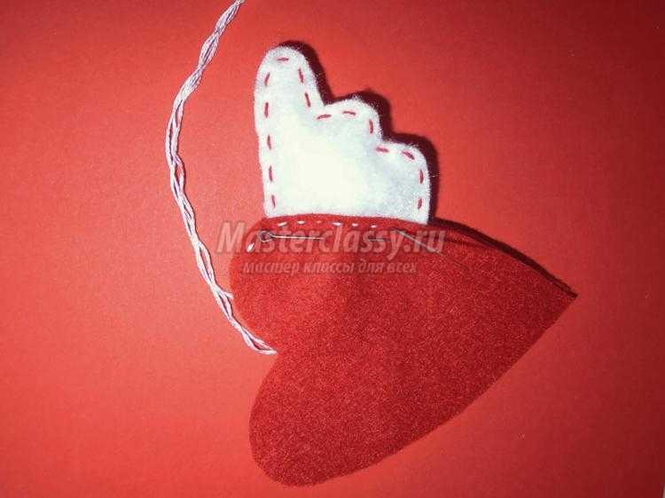 сердце из фетра с крыльями на 14 февраля
