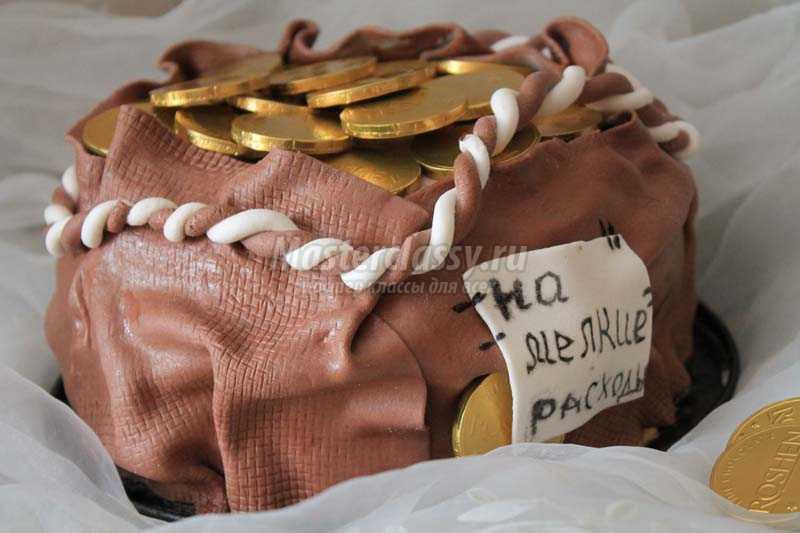 торт в виде мешка с деньгами