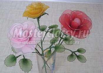 Розы из капрона и проволоки. Мастер-класс