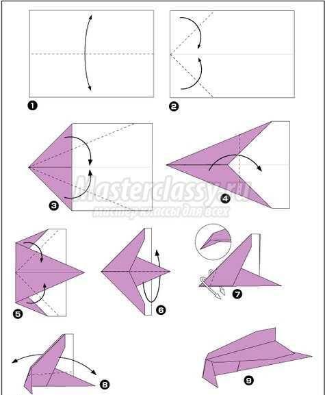 Самолет из бумаги который долго летает схема