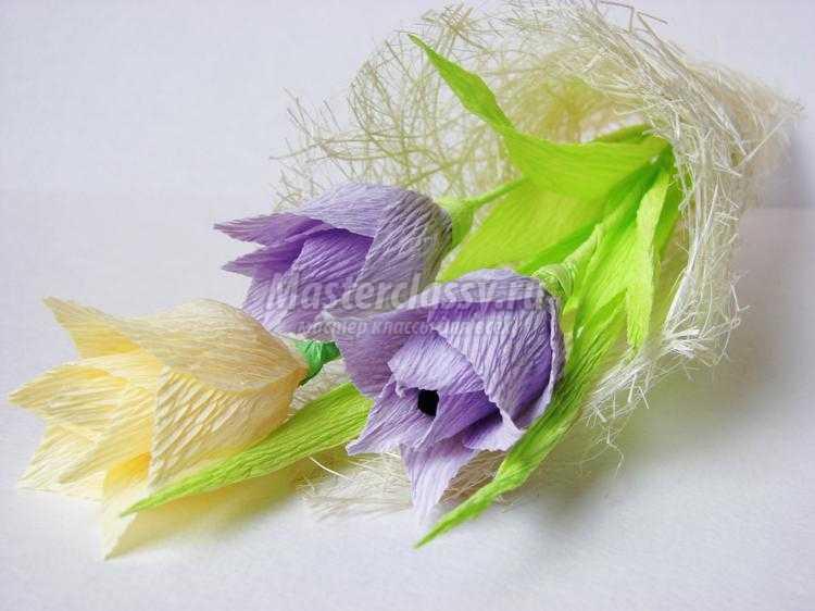 Тюльпаны из гофрированной бумаги. Мастер-класс с ... Тюльпан из Гофрированной Бумаги