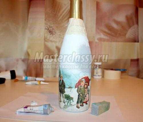 Пошаговый декупаж для начинающих: декорируем бутылку