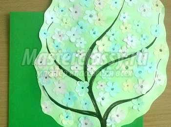 Аппликация из  бумаги с элементами рисования  «Весеннее дерево». Мастер-класс