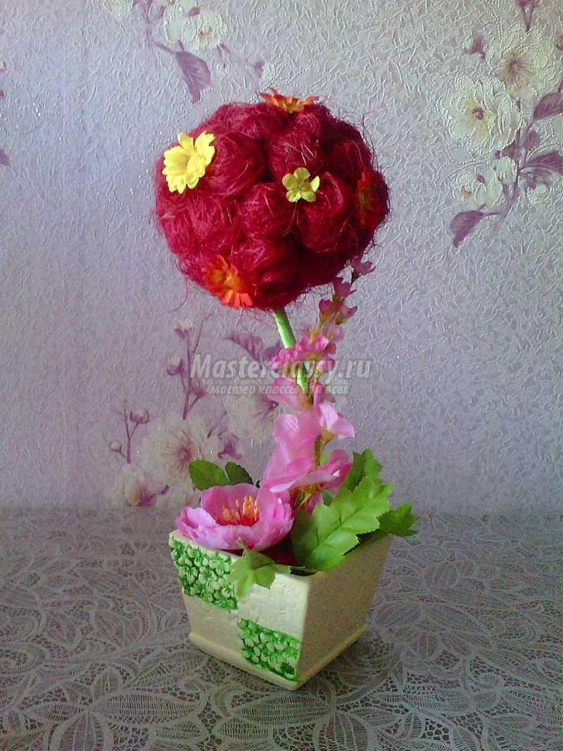 топиарий из сизаля и цветов мастер класс