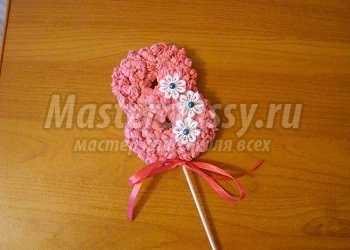 Поделка из цветных салфеток. Розовая восьмерка. Подарок на 8 Марта. Мастер-класс