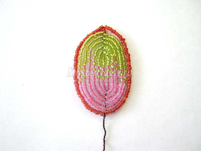 гладиолус из бисера пошаговое фото