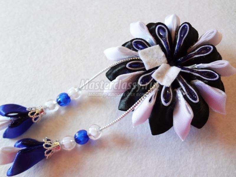 мастер класс канзаши цветы заколки