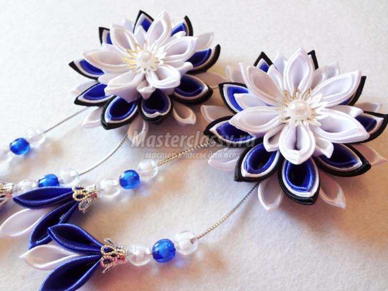 Фото цветка канзаши синего 7