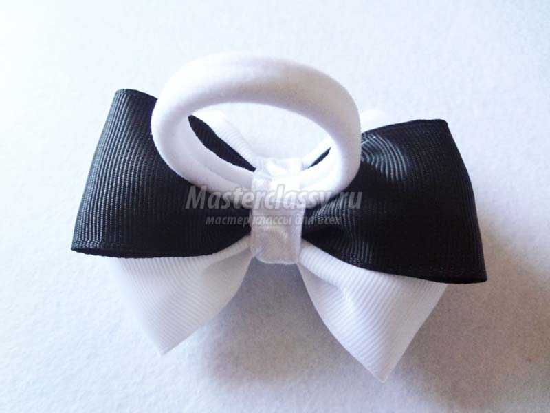 черно белые бантики канзаши
