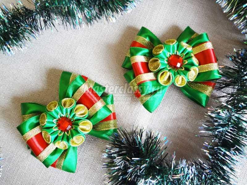 Рождественские бантики из лент