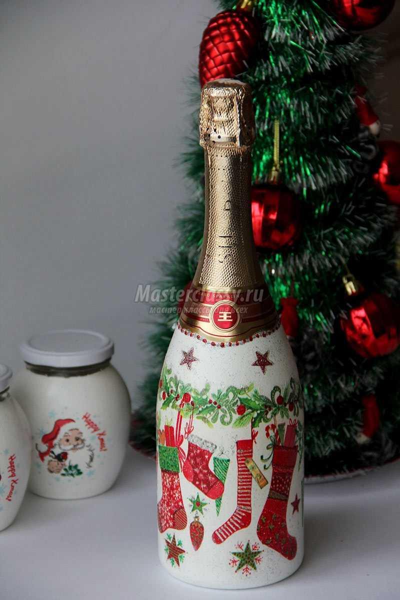 новогодний декупаж шампанского своими руками