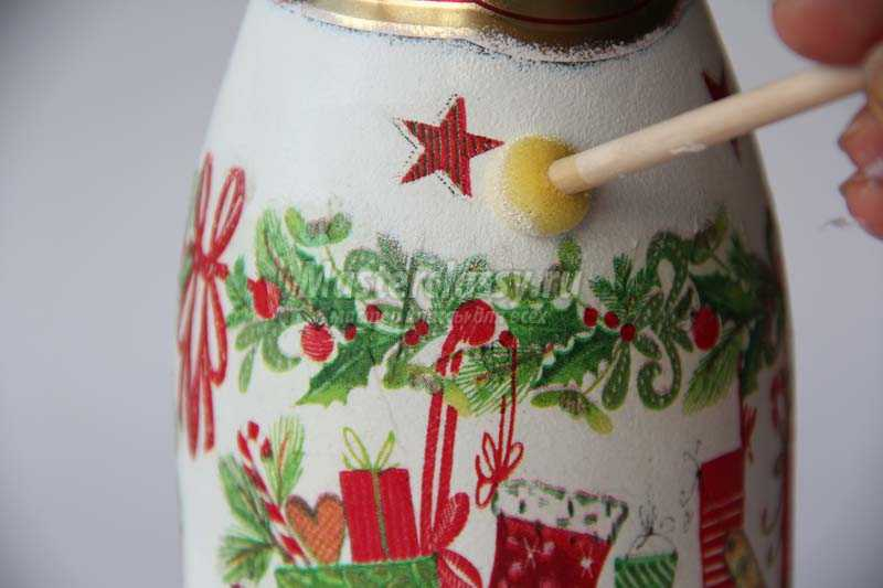 новогодний декупаж бутылок шампанского мастер класс