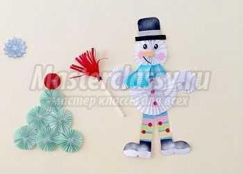 Забавный снеговик из бумаги. Мастер-класс