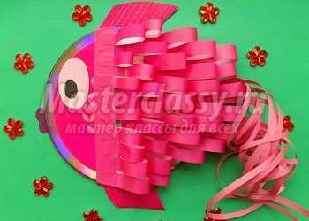 Поделка рыбка из компьютерного диска и цветной бумаги. Мастер-класс