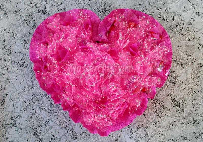сердце из конфет мастер класс