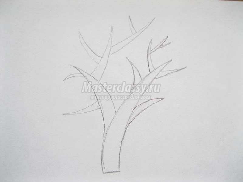 как нарисовать осеннее дерево