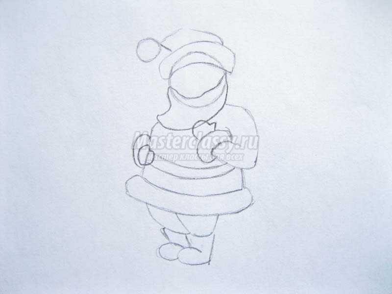как нарисовать деда мороза поэтапно
