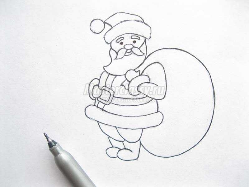 нарисовать деда мороза карандашом