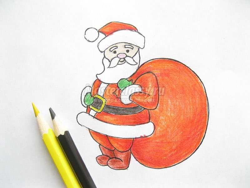 как нарисовать деда мороза поэтапно карандашом