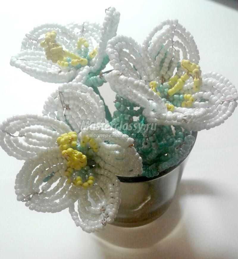 как сделать цветы из бисера своими руками