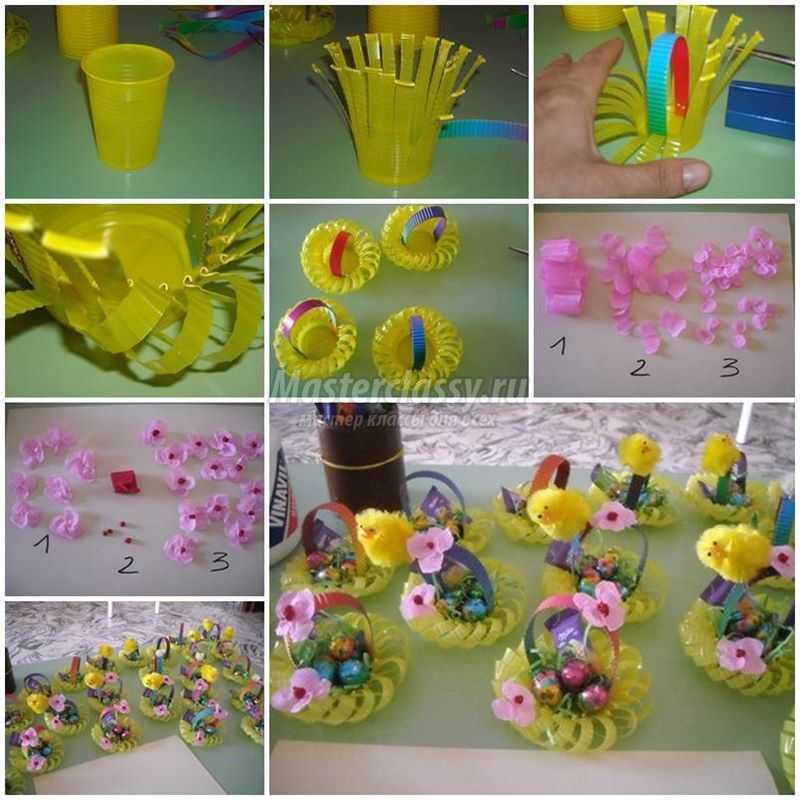 1489583733_diy-plastic-cup-easter-basket-1-copy Подарок на пасху своими руками: 10 идей с пошаговым фото