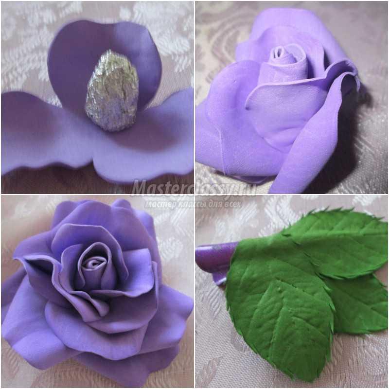 1492320856_3 Заколки из фоамирана: цветы своими руками, фото и для волос мастер-класс, ободок автомат, МК с розой как сделать