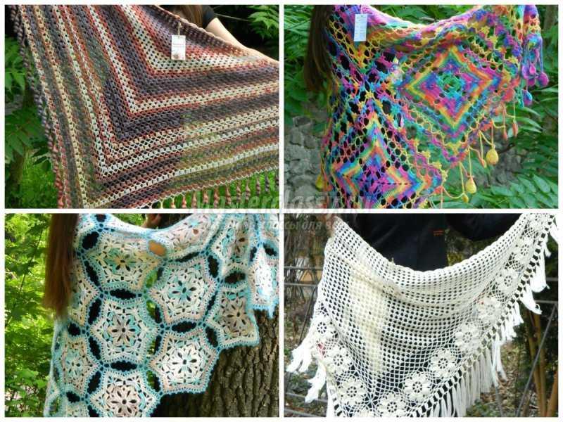 1506453071_collage2 Шали палантины вязание. Красивый ажурный палантин схемы. Как вязать шаль крючком простейшие схемы