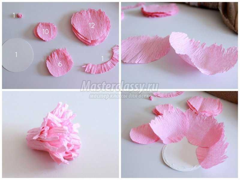 1524260577_collage1 Как сделать пион из гофрированной бумаги? — Букеты из конфет