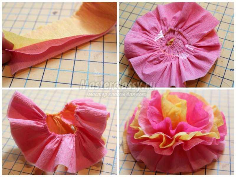 1524260618_collage3 Как сделать пион из гофрированной бумаги? — Букеты из конфет