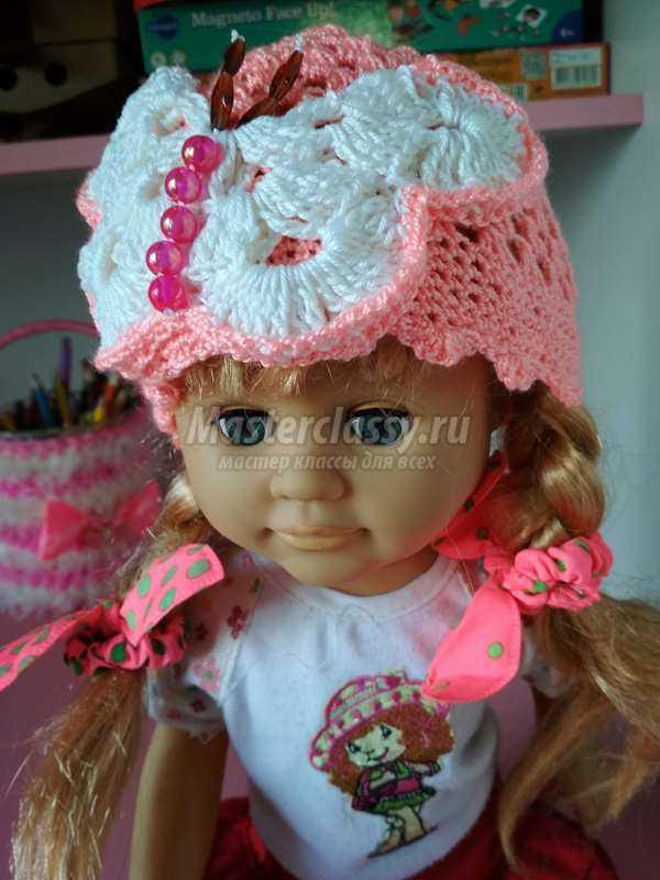 вязаная летняя шапочка для девочки крючком бабочка пошаговый